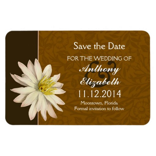 save the date white lily blossom magnet