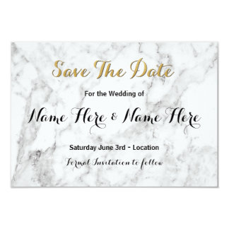 Save The Date White Marble Gold Art Deco Invite