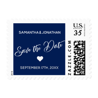 SAVE THE DATE White Navy Blue Wedding Postage