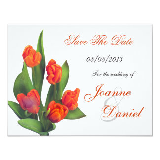 Save The Date White Orange Tulips Floral Card