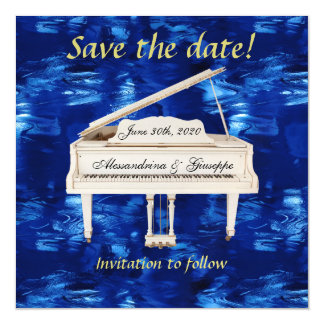 Save The Date White Piano Blue Waves Custom Text Magnetic Invitations