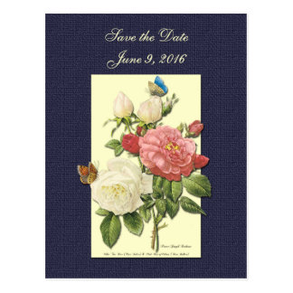 Save the Date White Red Roses Postcard