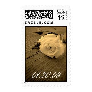 Save the Date White Rose Sepia Wedding Postage