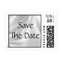 Save The Date White Satin Postage Stamps