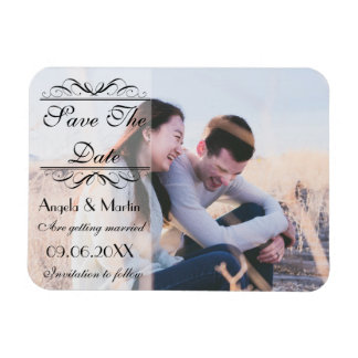 Save the Date, white shading black script Magnet