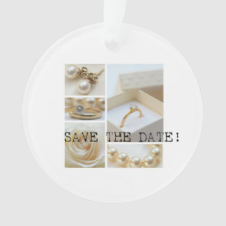 Save the Date White Wedding Collage Ornament