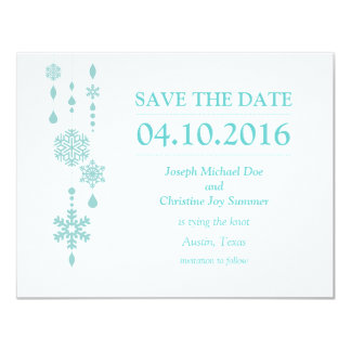 Save the Date White Winter Wedding Card