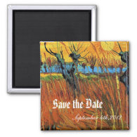 Save the date Willows at Sunset by van Gogh Fridge Magnet