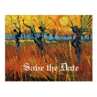 Save the date Willows at Sunset by van Gogh Postcard