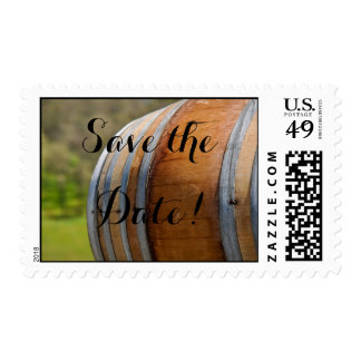 Save the Date Wine Barrel in the Vineyard Stamp