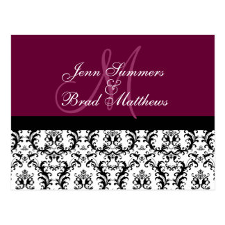 Save the Date Wine Red Monogram Damask Card Post Card