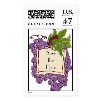 Save the Date Wine Themed Wedding Postage Stamp