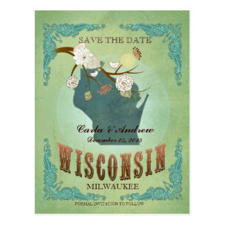 Save The Date - Wisconsin Map With Lovely Birds Postcard