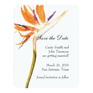 Save the Date with Bird of Paradise 4.25x5.5 Paper Invitation Card