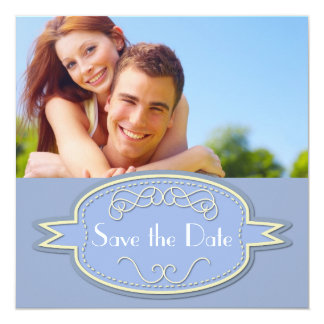 """Save the Date with Blue Banner 5.25"""" Square Invitation Card"""