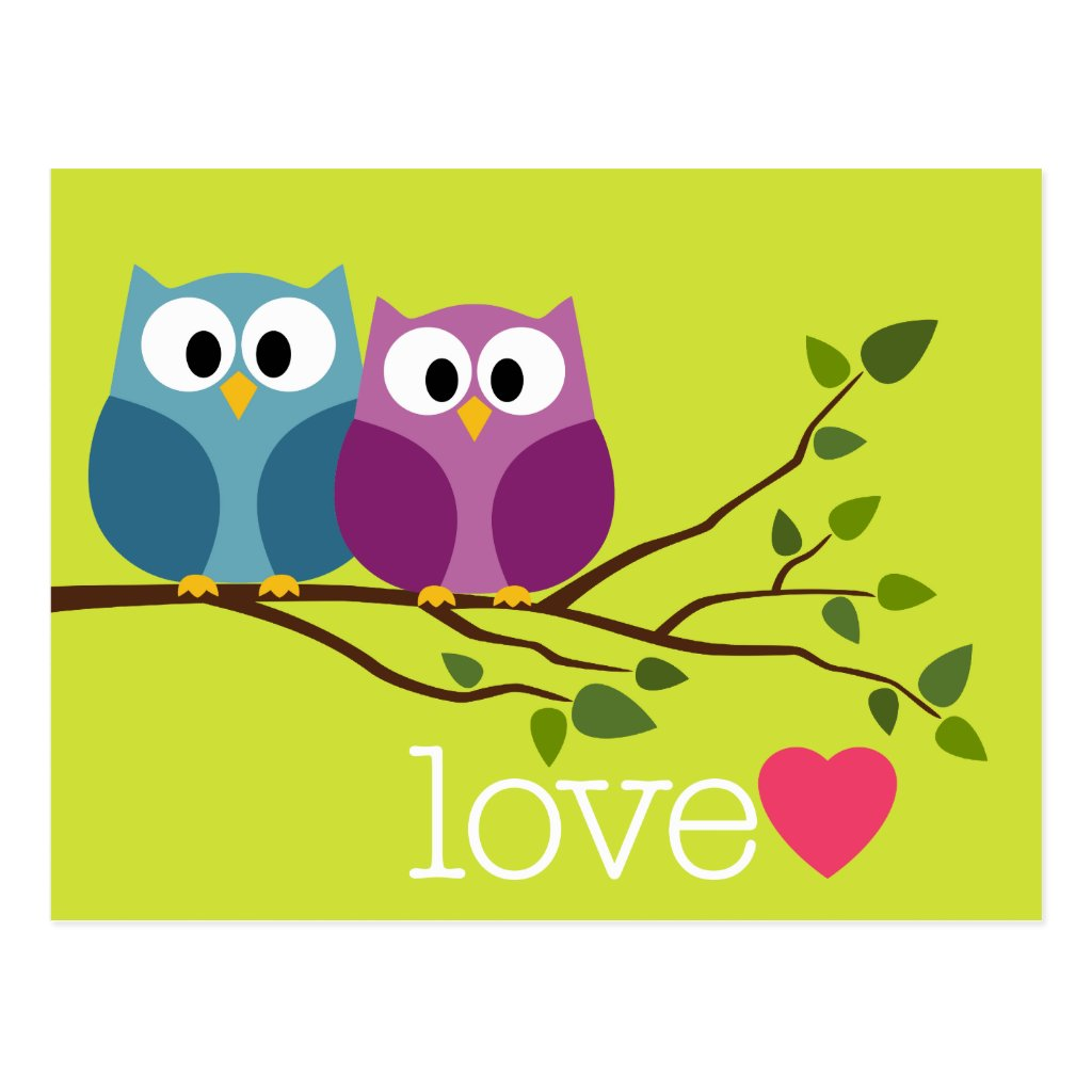 Save the Date with Cute Owl Couple 8 postcards.