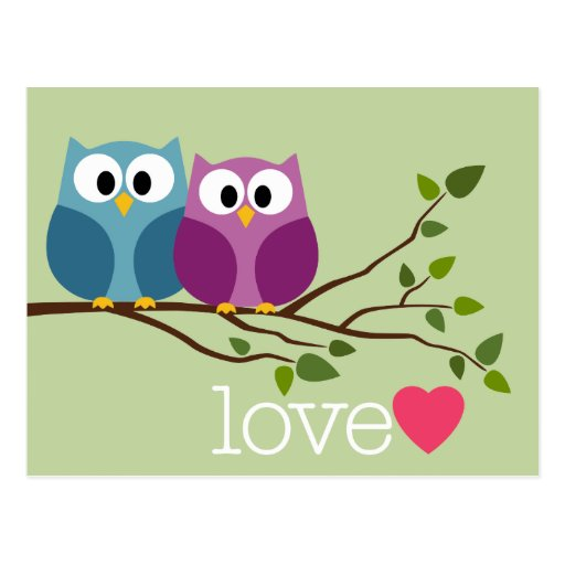 Save the Date with Cute Owl Couple Postcard