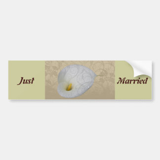 save the date with dew drop floral white lily bumper stickers