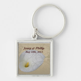 save the date with dew drop floral white lily keychain