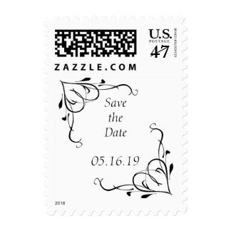 Save the Date with Floral Border Postage