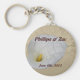save the date with floral white dew drop lily keychain