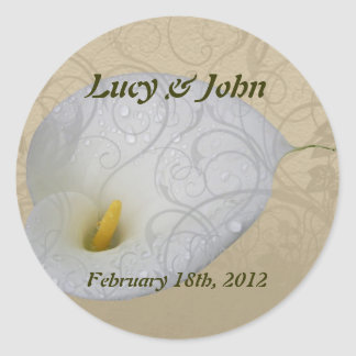 save the date with floral white dew drop lily classic round sticker