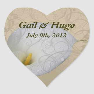 save the date with floral white dew drop lily heart sticker