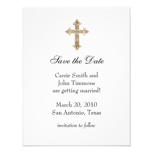 Save the Date with Gold Ornate Cross Custom Invites