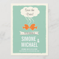 Save the Date with kissing Fish