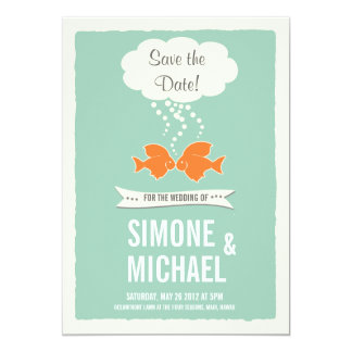 Save the Date with kissing Fish 5x7 Paper Invitation Card