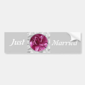 Save the Date with Pearls and Pink Floral Design Bumper Sticker