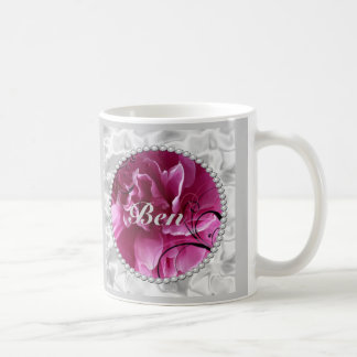 Save the Date with Pearls and Pink Floral Design Classic White Coffee Mug