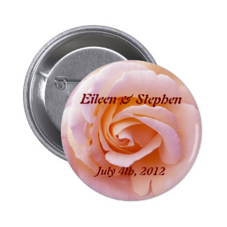 Save the date with Pink and Peach Garden Rose Pinback Button