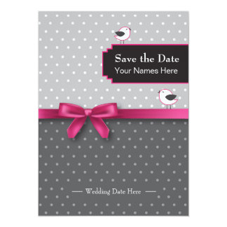 save the date with polka dots and birds card