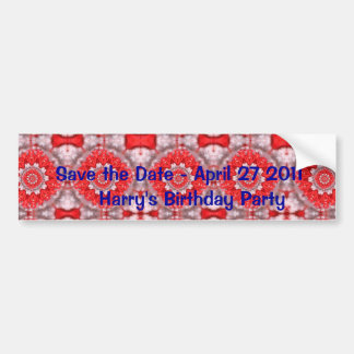 Save the date with Red Pattern Bumper Sticker