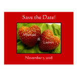 Save the date with strawberry hearts! postcard