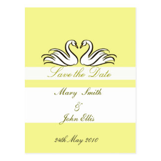 Save the date with swans  postcard