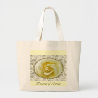 Save the date with Yellow Rose, Pearls & Satin Large Tote Bag