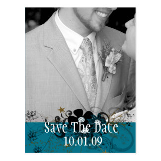 Save the Date with YOUR Photo DeepSea Blue Postcard