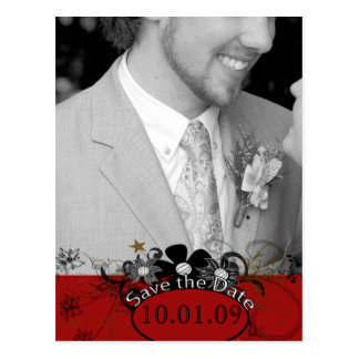 Save the Date with YOUR Photo - Red Postcard