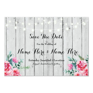 Save The Date Wood Red Rustic Floral Lights Invite