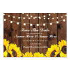 Save The Date Wood Rustic Sunflowers Lights Card