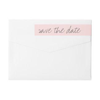 Save the date wraparound address label, blush pink wrap around label