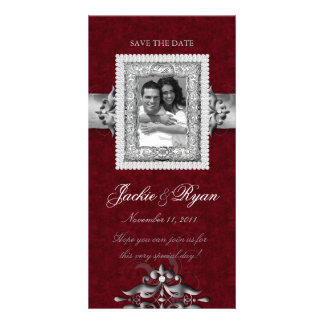 Save the Date Xmas Photo Card Red Jewels