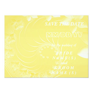 Save the Date - Yellow Abstract Flowers 6.5x8.75 Paper Invitation Card