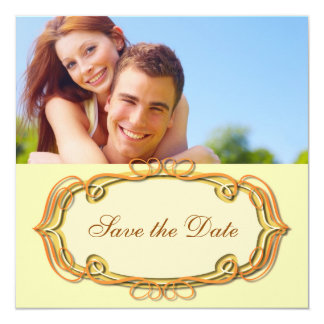 """Save the Date Yellow and Orange 5.25"""" Square Invitation Card"""