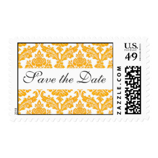 save the date,yellow damask postage stamps