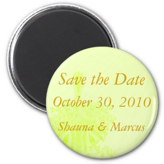 Save the Date - Yellow Flower Basket  (a) 2 Inch Round Magnet