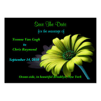 Save The Date Yellow Green Daisy Large Business Cards (Pack Of 100)