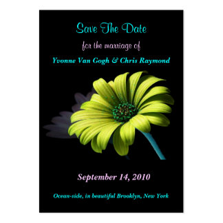 Save The Date Yellow Green Daisy I Large Business Cards (Pack Of 100)